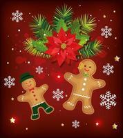 pôster de natal com biscoitos de gengibre e decoração vetor