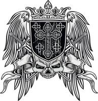sinal gótico com crânio grunge design vintage camisetas vetor