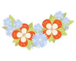 padrão floral decorativo de flores vermelhas e centáureas azuis vetor