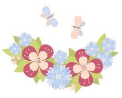 padrão floral de diferentes flores decorativas, folhas e borboletas vetor