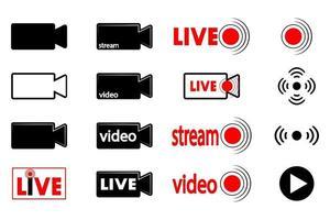 transmissão ao vivo ícones de câmera de vídeo de transmissão ao vivo vetor