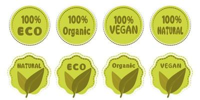 símbolo vegan eco natural orgânico conjunto de ícones vetor