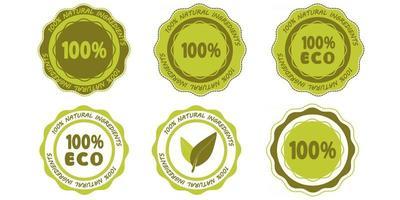 conjunto de ingredientes naturais ícones de carimbo de borracha 100 por cento verdes vetor