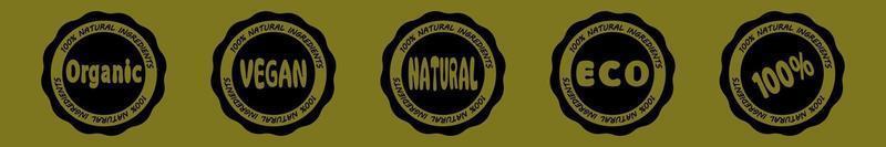 selo de vetor de todos os ingredientes naturais