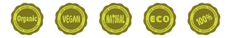 rótulos e etiquetas de logotipo de alimentos orgânicos frescos e saudáveis vetor