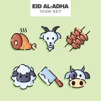 conjunto de ícones de comida eid al adha vetor