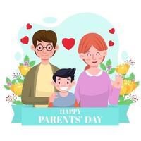 feliz dia dos pais posar com o filho vetor