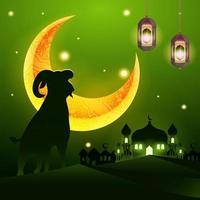 Fundo eid adha com mesquita e silhueta de cabra vetor