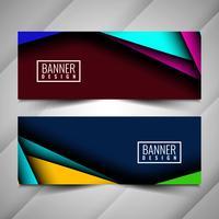 Conjunto de bandeiras elegantes coloridas abstratas vetor
