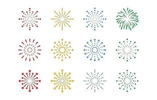 conjunto de ícones de linha de fogo de artifício vetor