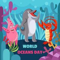criaturas do oceano celebram o dia mundial dos oceanos vetor
