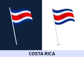 vetor costa rica acenando a bandeira nacional da itália, isolada em um fundo branco e escuro.