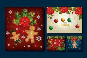 conjunto de pôster de feliz natal com decoração vetor