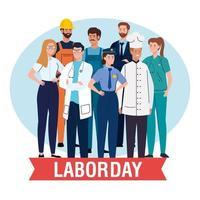 cartaz do dia do trabalho com pessoas de diferentes profissões e decoração de fita vetor