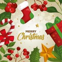 cartaz de feliz natal com decoração vetor