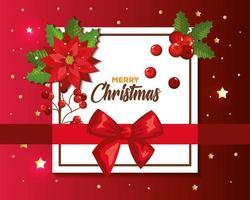 cartaz de feliz natal com laço de fita e decoração vetor
