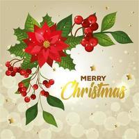 cartaz de feliz natal com flores e decoração vetor