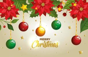 cartaz de feliz natal com bolas penduradas e decoração vetor