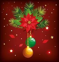 pôster de natal com bolas penduradas e decoração vetor