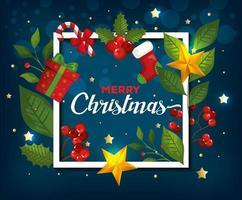 cartaz de feliz natal e moldura com decoração vetor
