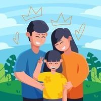 família feliz comemorando o dia dos pais vetor