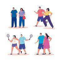 grupo de pessoas praticando atividades personagens de avatar vetor