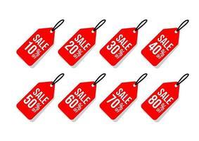 conjunto de etiquetas de desconto de venda vermelhas isoladas no fundo branco vetor