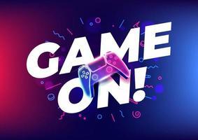 jogo no controlador de jogo de néon ou joystick para console de jogo em fundo azul vetor