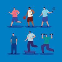 grupo de homens praticando exercícios com personagens de avatar vetor