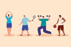 grupo de pessoas praticando exercícios com personagens de avatar vetor
