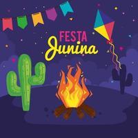 pôster festa junina com fogueira e ícones tradicionais vetor