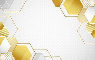 fundo abstrato do polígono branco e dourado vetor