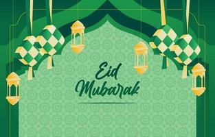 eid mubarak com ketupat e lanterna vetor