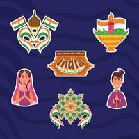 adesivos do dia da independência da índia vetor