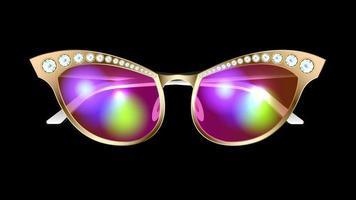 óculos de sol brilhantes dourados isolados vetor