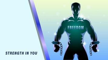 silhueta do homem luta pela liberdade vetor