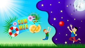 composição de verão dia e noite fundo vetor
