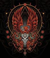 ilustração mítica da arte da tatuagem da fênix fogo pássaro vetor