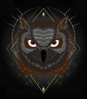 ilustração vetorial de coruja para impressão de design de camiseta vetor