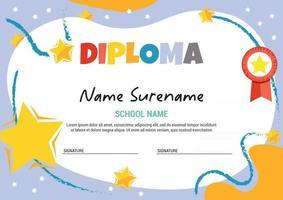 modelo de diploma para medalha de estrela e nuvem de formatura de criança vetor