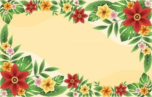 colorido e lindo fundo floral tropical de verão vetor