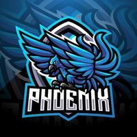 design de logotipo do mascote esporte fênix azul vetor