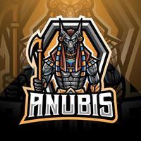 design do logotipo do mascote anubis esport vetor