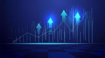 Negócios, vela, vara gráfico gráfico de negociação de investimento no mercado de ações no fundo azul tendência de alta do ponto da ilustração do vetor gráfico eps10