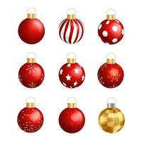 Feliz Natal e Feliz Ano Novo, bola vermelha realista com adorável banner de elementos vetor