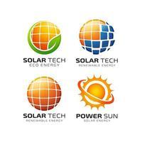 modelo de design de logotipo de energia de tecnologia solar vetor