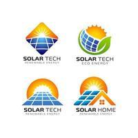 modelo de design de logotipo de tecnologia de painel solar vetor