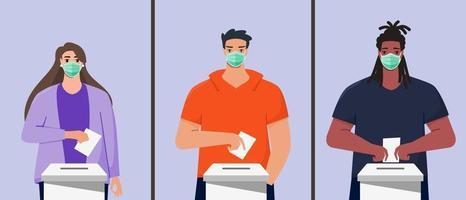 homem e mulher votam durante a pandemia vetor