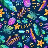 tropical floral colorido gradiente folha flor vetor