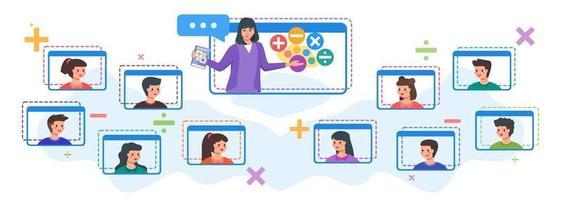 crianças em aula online com professora vetor